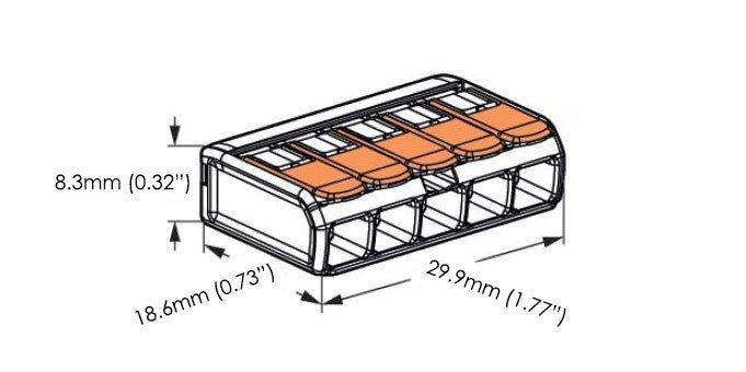 5 terminal wago 222 415 splicing connector hueda led. Black Bedroom Furniture Sets. Home Design Ideas